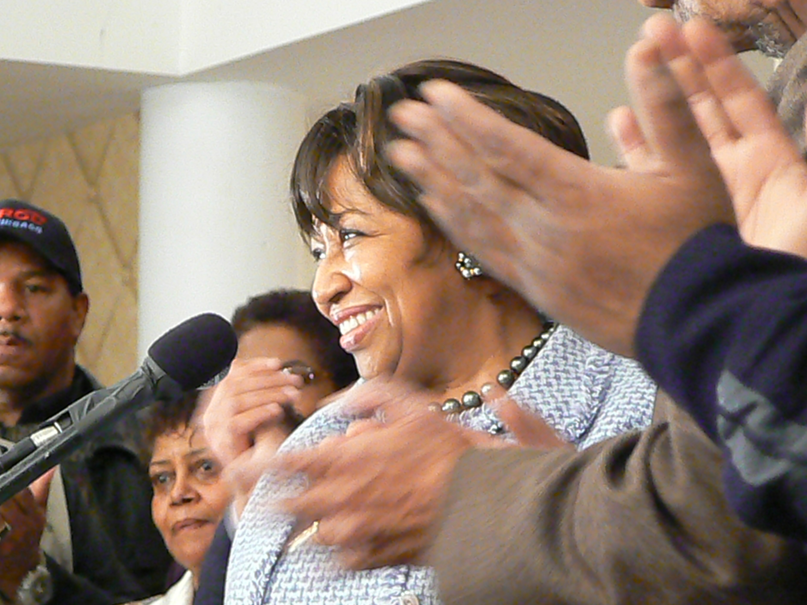 Carol Moseley Braun receives applauds as she concedes late Tuesday night.