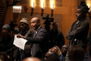About 150 people attended a session held by the Chicago Urban League at Kennedy-King College on Jan. 12, 2016 to address the Chicago Police Board concerning nominations for the next Chicago Police Department superintendent. (Michelle Kanaar / City Bureau)